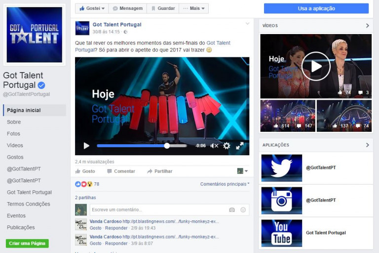 portfolio 6/6  - Redes sociais do Got Talent Portugal - 2015, 2016 e 2017