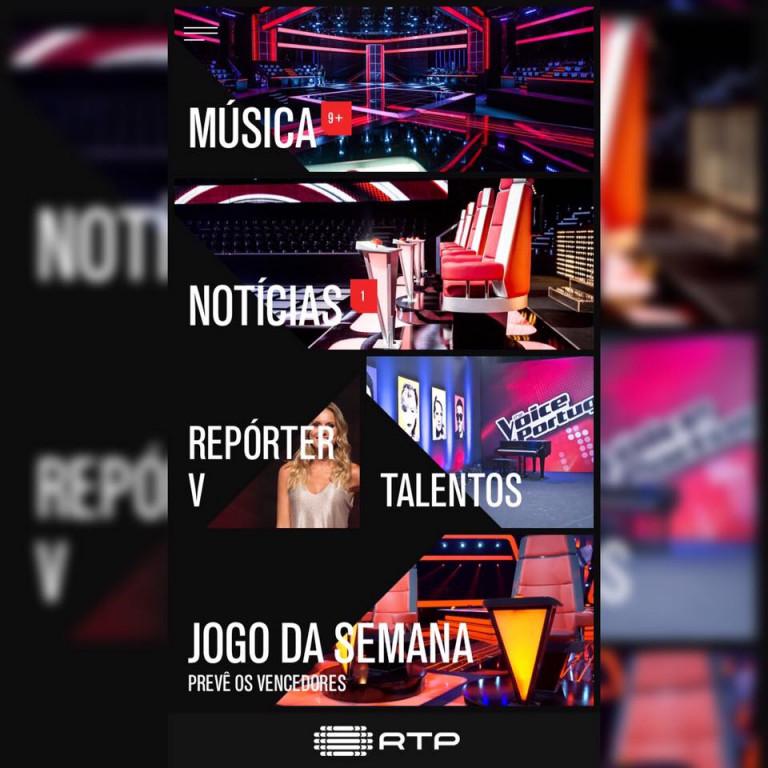 portfolio 5/6  - Conteúdo e jogos interativos na APP oficial do The Voice Portugal